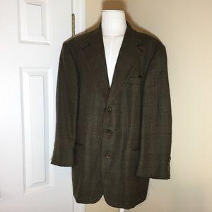 Oscar de la Renta 43R 100% wool brown tweed blazer